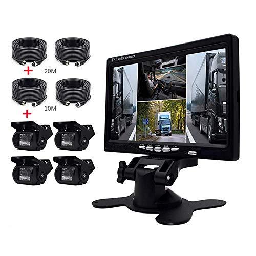Bewakingscamera voor auto en kit monitor, 7 inch HD Quad Split Monitor, 4 stuks waterdichte IR-Night Vision camera's voor en achter en aan de zijkant, voor auto bus/aanhanger
