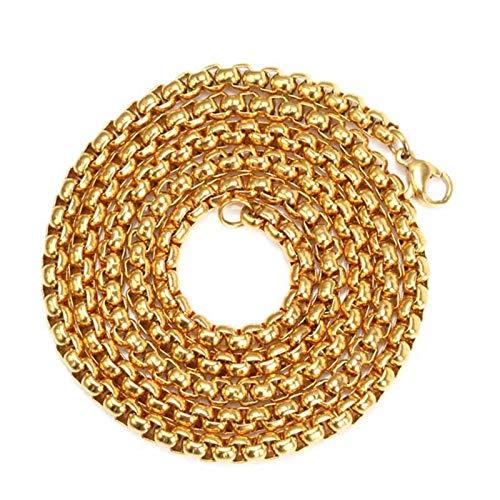 Daesar Collar de Hombre Collar Niño Acero Inoxidable Cadena de Cuadrada Collar de Hombre Oro-5.0MM-75cm