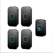Wireless Doorbell, 1000 Foot Remote Waterproof Electric Doorbell Kit 1 Button and 4 Plug-in Receivers with Flash,Black