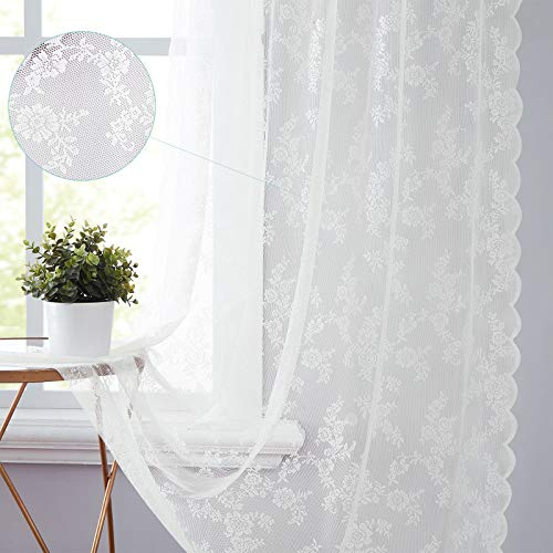 """White Lace Sheer Curtain Panels for Living-Room 95"""" Long Elegant Rose Floral Embroidery Window Treatment Sets Flower Light Filtering Translucent Draperies for Office Studio Rod Pocket 55"""" W x 2 pcs"""