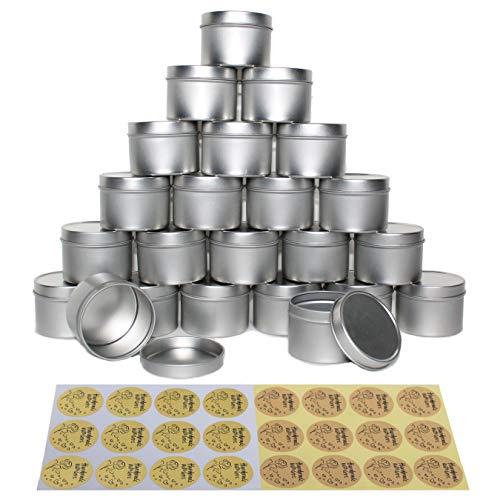"""120 Envases de Metal Cozyours con Sus Tapas, 24 Pzas + Stickers """"Hecho con Amor"""", 24 Pzas; Envases para Velas, Contenedores para Almacenar, Envases de Metal"""