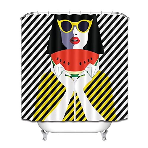 MZYZSL Cortina de Ducha Mujer Joven con Gafas de Sol y sandía Rayas Blancas y Negras Tela Impermeable para baño para decoración de bañera-180x180cm