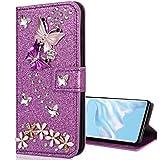 Nadoli Leder Hülle für Galaxy A9 2018,Luxus Bling Glitzer Diamant 3D Handyhülle im Brieftasche-Stil Schmetterling Blumen Flip Schutzhülle Etui für Samsung Galaxy A9 2018,Lila -