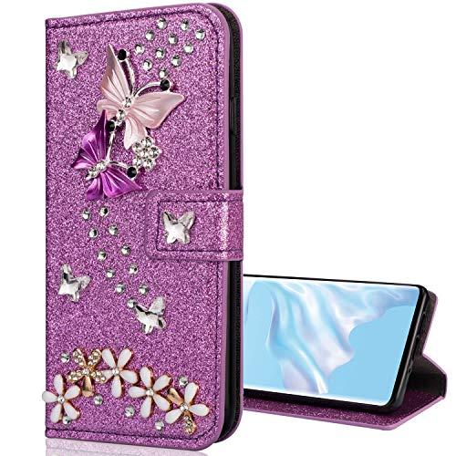Nadoli Galaxy A70e Leder Hülle,Bling Glitzer Diamant 3D Handyhülle im Brieftasche-Stil Schmetterling Blumen Flip Schutzhülle Etui für Samsung Galaxy A70e,Lila
