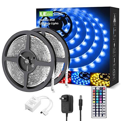LE LED Strip Lights, 32.8ft RGB 5050 LED Strips with Remote Controller, Color Changing Tape Light with 12V Power Supply for Room, Bedroom, TV, Kitchen, Desk