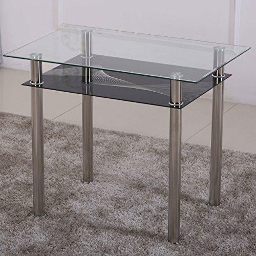 Esstisch Glas mit 6mm Sicherheitsglas & Facettenschliff - Glastisch perfekt geeignet als Esszimmertisch/Küchentisch (90x60x75cm, schwarz)