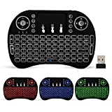 Vettora - Mini Wireless Keyboard With Touch-Pad Mouse - LED Backlit Multimedia Keys With 2.4GHz USB Rechargeable Remote Control For Smart TV/Laptop/PC/Tablets/Windows