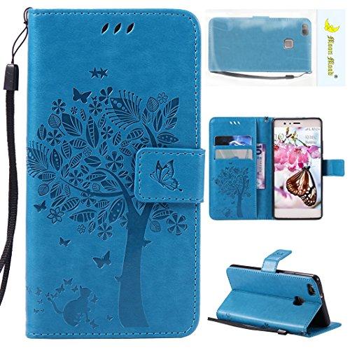 Huawei P9 Lite Funda de Cuero Azul, Huawei P9 Lite Funda de Piel, Moon mood Funda Libro de PU Cuero con Tapas y Cartera Carcasa Piel para Huawei P9 Lite 5.2 Pulgadas Funda Protectora