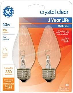 GE Lighting 75341 Flame Shaped Bulb, 40W, Clear, 2-Pack