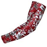 Bucwild Sports - Manguito de compresión para brazo de compresión para jóvenes y adultos (1 manga de brazo, camuflaje granate para jóvenes)