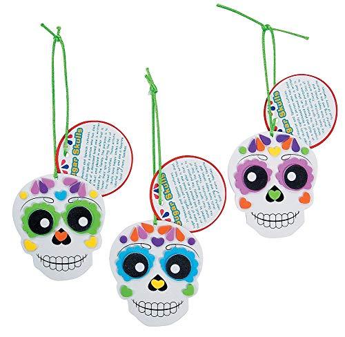 Foam Day of the Dead Sugar Skull Ornament Craft Kit-Makes 12