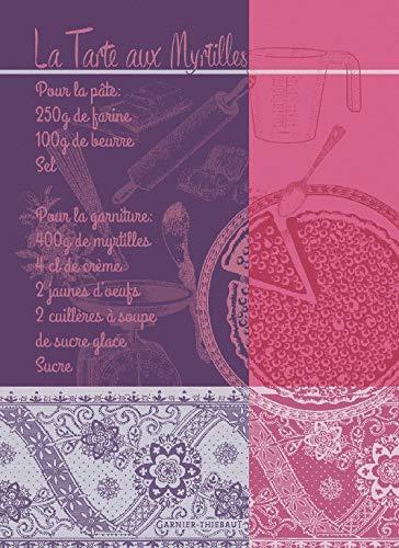 Garnier-Thiebaut, Tartes aux Myrtilles, Violet (Blueberry Pie/Tart) Recept Frans Jacquard Keuken/Theedoek, 100 procent Katoen, Alle in het Frans