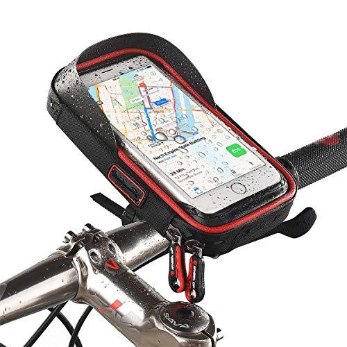 Smartphone-Halterung, Handy-Tasche für Fahrrad kompatibel mit Apple iPhone XS Max,XR,X,8,8 Plus/Samsung Galaxy Note,S10,S9,S8,S8+,S7,S7 Edge/LG G6, G4 / Huawei P20, P10, Mate usw. Schwarz-Rot
