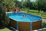 Korfu - Piscina de madera maciza, dimensiones exteriores: 376 x 714 cm, capacidad de agua: 20,4 m3, sistema de filtro de arena MAXI: no disponible