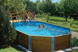 Massivholz-Swimmingpools Korfu - Außenmaß: 376 x 714 cm, Wasserkapazität: 20,4 m³, Sandfilteranlage MAXI: nicht vorhanden