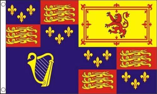 Flagmania® Royal Banner 1603–89 et 1702–07 Drapeau 1,5 x 0,9 m (150 cm x 90 cm) + 59 mm Insigne de bouton