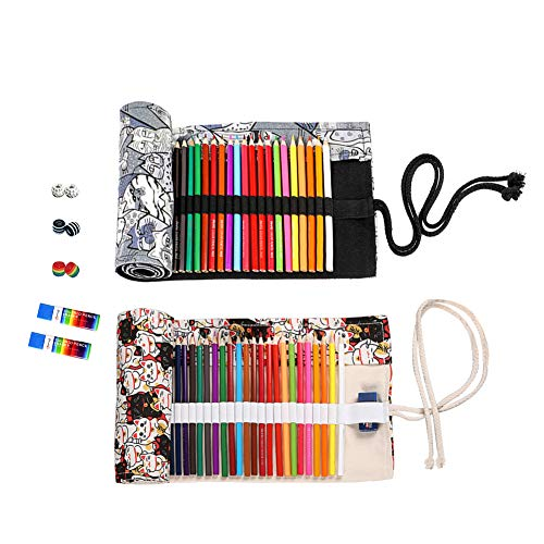 72 Slots Canvas Pencil Wrap Colored Pencils Roll Up Case Pure Handmade Pencil Pouch Travel Drawing Coloring Pencil Roll Holder Organizer (2-Pack Cat)