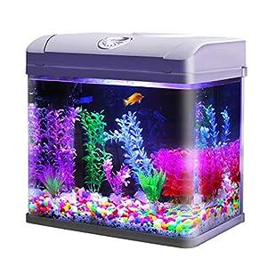 Fish Tank Aquarium Starter Kit with Lid LED aquarium Kit Mini Fish Tank Home Living Room Office Smart Aquari...