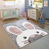 Paco Home Alfombra Infantil Habitación Infantil Contorneado Liebre Adorable Gris Crema Rosa, tamaño:80x150 cm