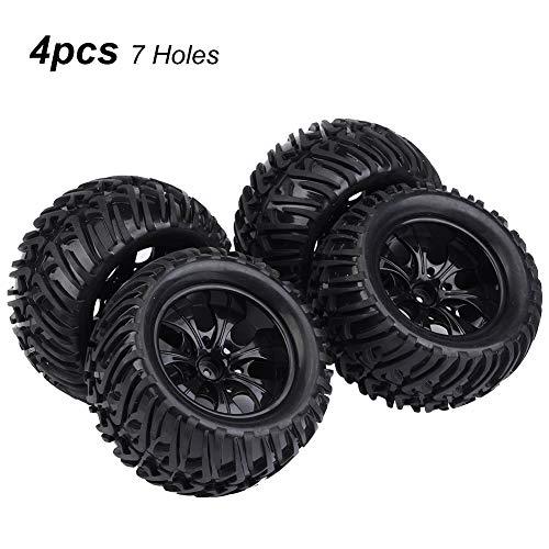 Dilwe RC Auto Reifen, 4 Stück Y-förmigen Muster Reifen Gummireifen mit Naben für 1/10 Skala RC LKW Auto(7 Löcher)