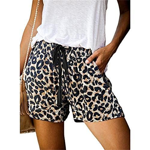 N\P Pantalones cortos casuales de camuflaje leopardo pantalones cortos con cordón bolsillos sueltos