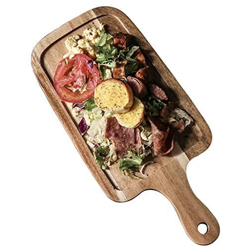 Tabla de Cortar de Pizza Rectangular y Paleta de Queso cáscara de Pizza de Madera de Acacia con asa Bandeja Grande para Servir Pan y Tabla para Servir Fuente de Carne