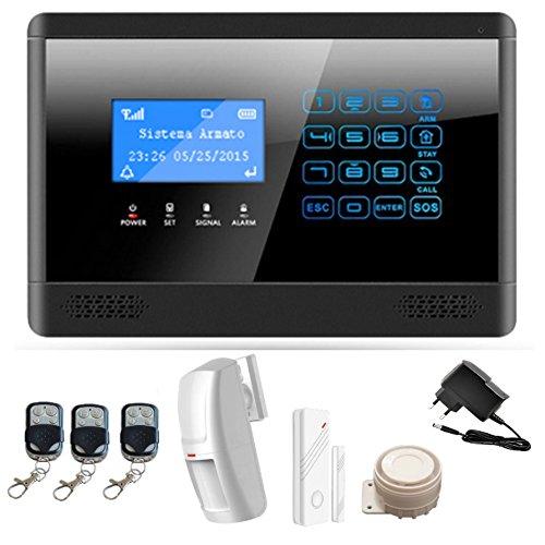 ITALIAN ALARM IAM2BX antifurto Allarme Casa Kit Wireless Senza Fili, Combinatore Telefonico GSM, gestione APP'M2BX' Android/IOS per Armo e Disarmo, nuovo menù LCD a icone. GIA' CONFIGURATO