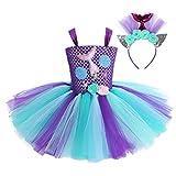 Alvivi Disfraz Sirena Niña para Halloween Carnaval con Diadema Sireñita Vestido Princesa Fiesta Lentejuelas Estampado Concha Cola Niña Tutú Infántil Púrpura y Azul Claro 2-3 Años