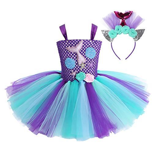 Agoky Disfraz de Sirenita para Niña Cosplay Vestido Tutú de Princesa Vestido Fantasía de Vieira con Diadema para Fiesta Cumpleaños Carnaval Púrpura Y Azul Claro 6-7 Años