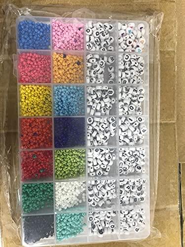 Juego de perlas de cristal, mini perlas para enhebrar con letras redondas, cuentas de alfabeto espaciadoras para joyas, perlas para manualidades, 3 mm