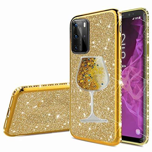 Nadoli Glitzer Hülle für Huawei P40,Kristall Diamant Strass Bumper mit 3D Fließend Flüssig Treibsand Weinglas Silikon Handyhülle Frauen für Huawei P40