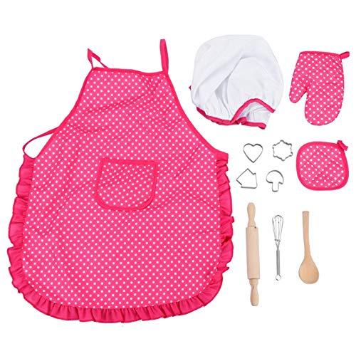 Juego de disfraz de chef para nios, 11 piezas de juguetes de juego de rol con delantal, gorro de chef, guante, rodillo, moldes para pasteles para nias pequeas, regalo