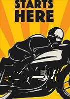 igsticker ポスター ウォールステッカー シール式ステッカー 飾り 841×1189㎜ A0 写真 フォト 壁 インテリア おしゃれ 剥がせる wall sticker poster 011209 バイク 乗り物 黄色