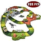 JOYIN Dinosaur 192 Pieces Race Tracks Flexible Train Track Race Car Vehicle Playset with 2 Battery Powered Race Cars and 2 Dinosaur Actions Figures (205 Piece in Total)