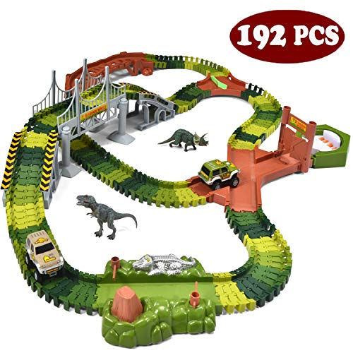 JOYIN Dinosaur Toys 192 Pieces Race Tracks Flexible Train Track Race Car Vehicle Playset with 2 Battery Powered Race Cars and 2 Dinosaur Actions Figures (205 Piece in Total)