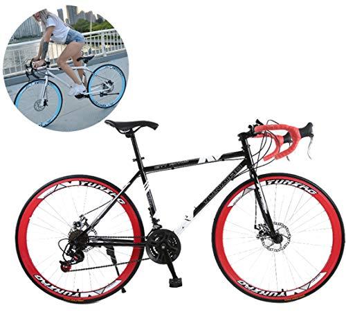 LCAZR 28 Zoll Rennrad Road Bike, Straßenrennrad mit Carbon Gabel für Damen und Herren,Vollfederung Mountain Bike,24 Speed,White 40 Spoke/Red