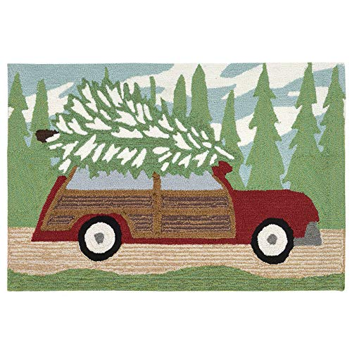 """Liora Manne Whimsy Christmas Wagon Rug, Pine, Indoor/Outdoor, 24"""" x 36"""""""