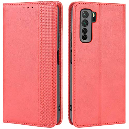 HualuBro Handyhülle für Huawei P40 Lite 5G Hülle, Retro Leder Stoßfest Klapphülle Schutzhülle Handytasche LederHülle Flip Hülle Cover für Huawei P40 Lite 5G Tasche, Rot