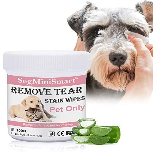 SEGMINISMART Toallitas Limpiadoras para los Ojos de Perros y Gatos 100 toallitas de algodón húmedo por Las lágrimas de los Ojos de Las Mascotas Mucus Saliva
