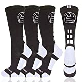 Londkaron Volleyball Socks with Volleyball Logo, Soft Mid Calf Crew Socks (Black/White - 2 Pairs, Large)