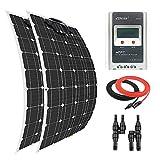 Giosolar Panel Solar 200 W Flexible Panel Solar Kit Cargador de Batería Monocristalina 20A LCD MPPT Controlador de Carga para Barco Caravana Off-Grid