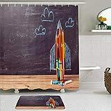 FOURFOOL Cortinas con Ganchos,Regreso a la Escuela Pizarra Vintage Rocket Made Lápices Pizarra Pizarra Piso de Madera,Decoraciones de Cortinas de Ducha Alfombra de Baño Moderno