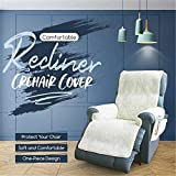 oceansEdge11 Recliner Chair Cover with Four Easy Access Pockets, Soft and Comfortable Poly-Fleece Cover, One-Piece Design, Keeps Ideal Temperature, Protect Your Chair