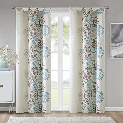 Madison Park Anaya Curtain Grommet Tops Thermal Insulated Window Living Room Bedroom and Dorm Single Panel, 50x84, Blue/Brown