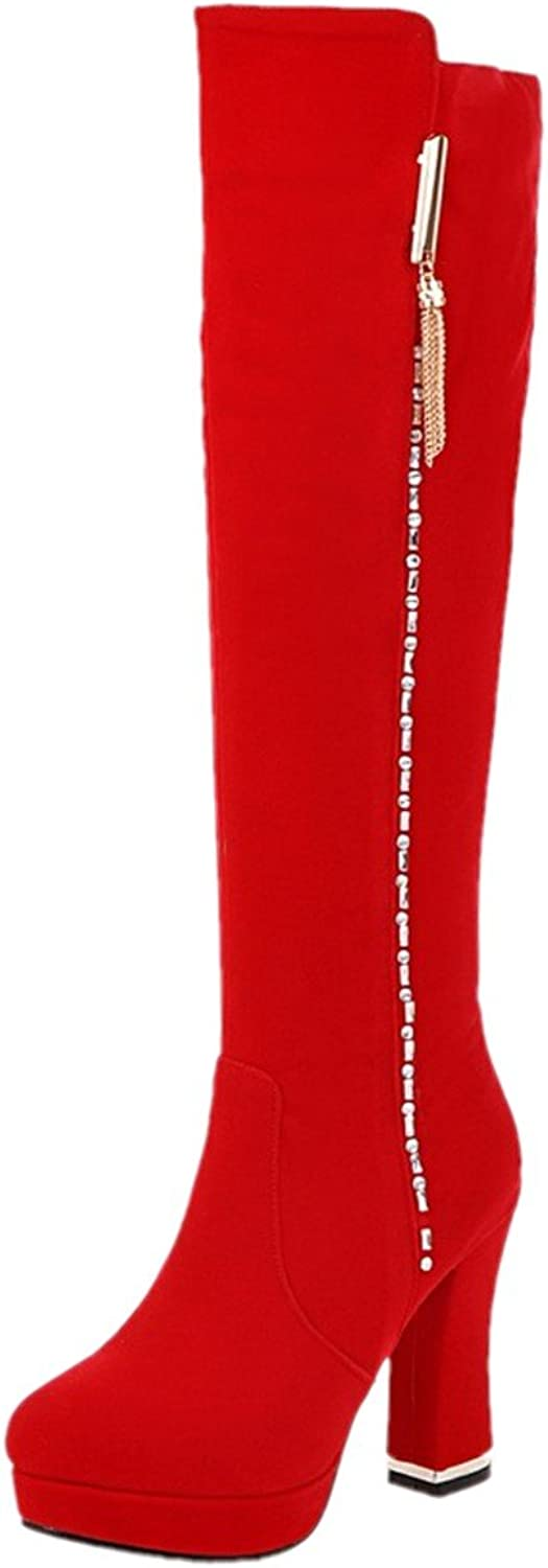 Rongzhi Womens Knee High Boots Thick Pumps Heel Platform Zip Round Toe Party Dres Suede Boots
