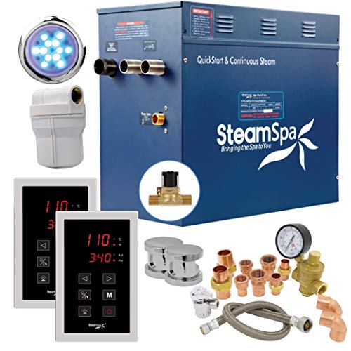 SteamSpa Executive 12KW QuickStart Acu-Steam Bath Generator Package with Built-in Auto Drain in Polished Chrome | Steam Generator Kit with Dual Control Panel Steamheads 240V | SS-EXT1200CH-A