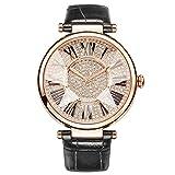 GAOHAILONG Reloj de señora tachonado reloj resistente al agua correa de cuero, black