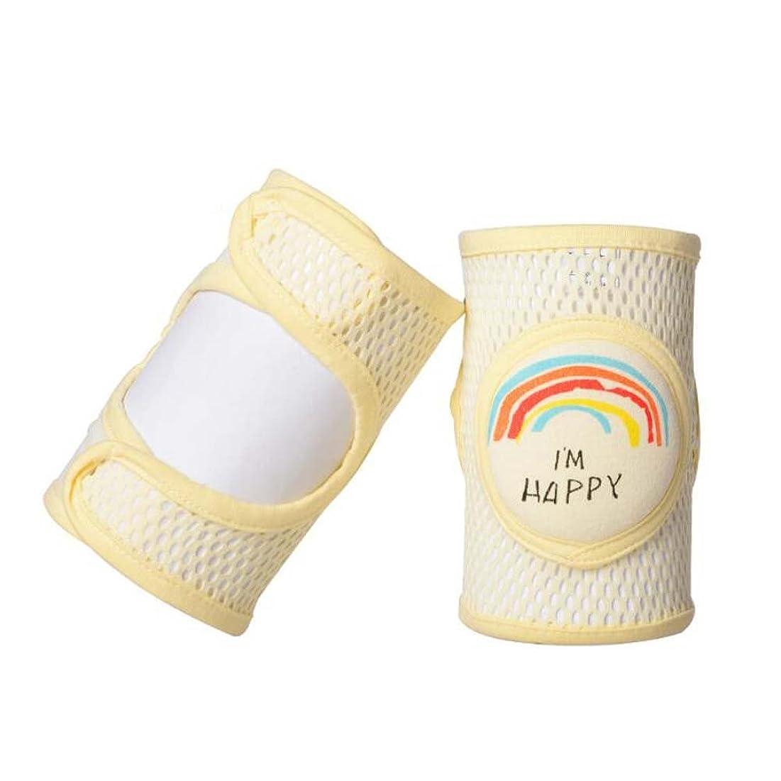 達成する風邪をひく供給通気性のある暖かいコットンとアンチスリップエラスティック(イエロー)のベビーニーパッド