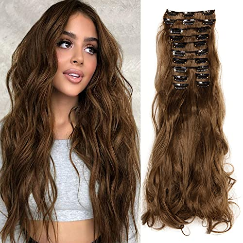 KOODER Clip in Hair Extensions Hair 180g 22Inch Hair Extensions for women Curly Hair Extensions Stainless Clips Thick Full Head 12PCS 10#