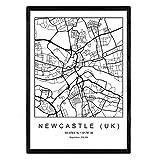 Nacnic Drucken Stadtplan nordico Newcastle uk Stil in